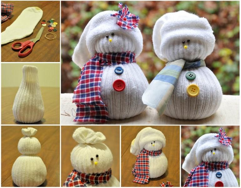 Как сделать своими руками новогоднего снеговика