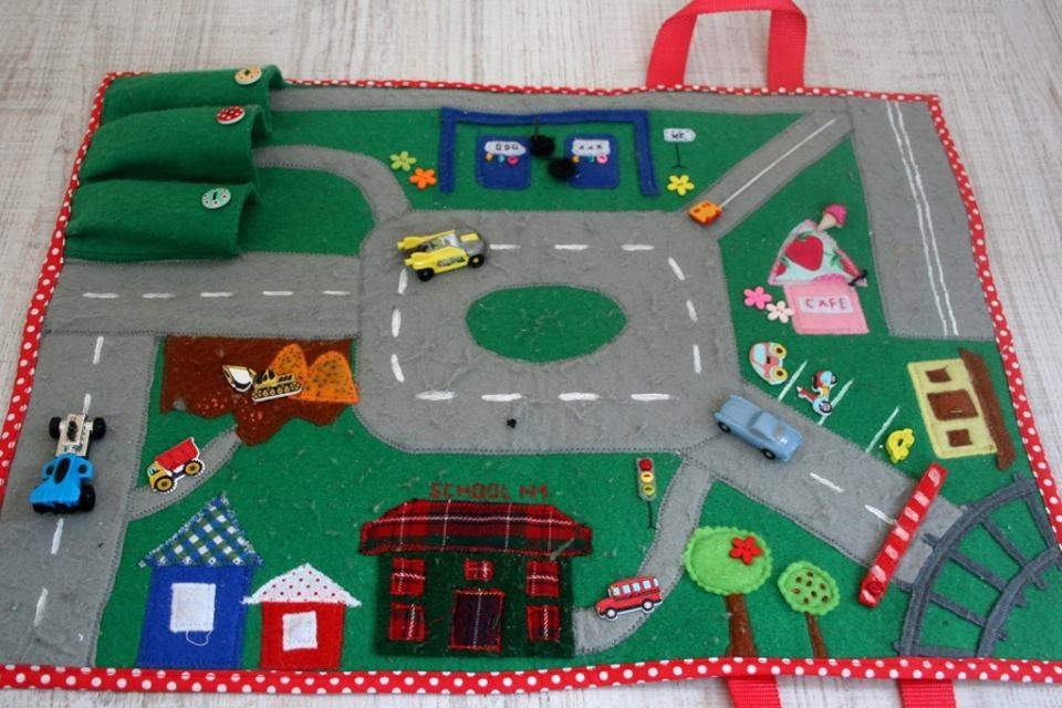 Раскладная сумка-дорога из фетра для детей