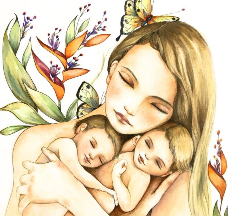 Картинки поздравлениями, картинка мамы с ребенком нарисованные